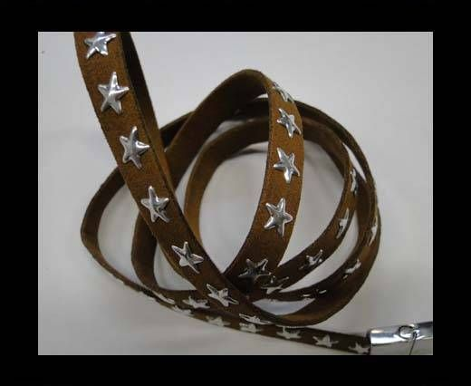 Suede Cords with Star Studs 10mm-Brown