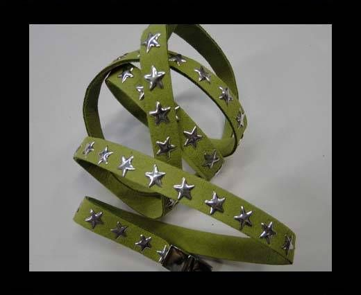 Suede Cords with Star Studs 10mm-Green
