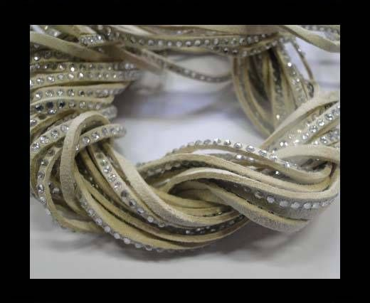 Suede Cords with Crystals 3mm-Beige