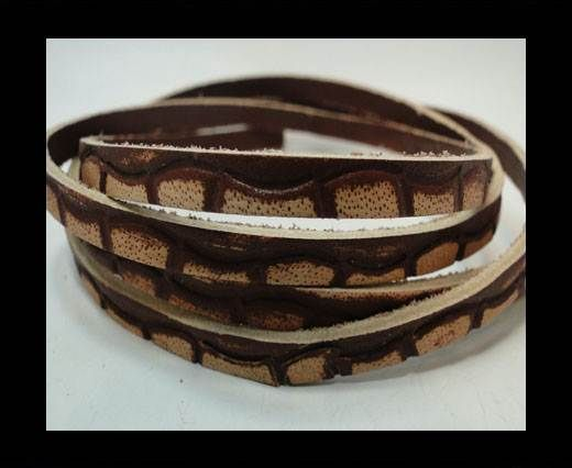 Vintage Style Flat Leather - 5mm-Tan Square