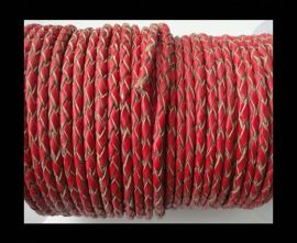 Round Braided Leather Cord SE/B/06-Red-natural edges - 3mm