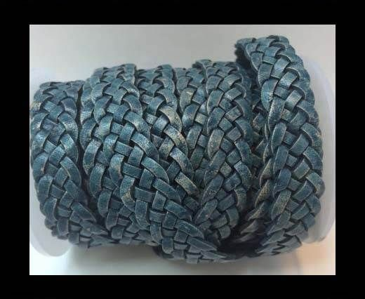 10mm Flat Braided- Blue with w.b- 5 ply braided Leather Cords