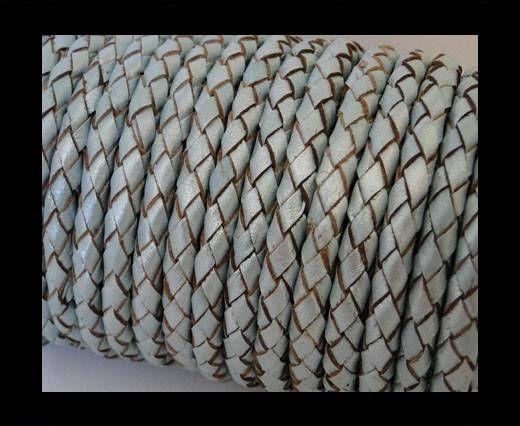 Round Braided Leather Cord SE/M/14-Metallic Baby blue - 6mm