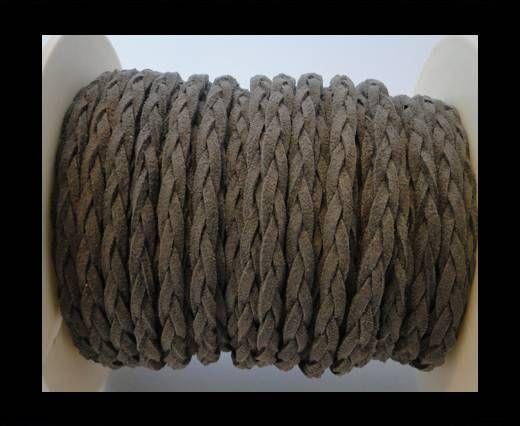 Geflochtene Wildleder-Kordeln-5mm-Grau