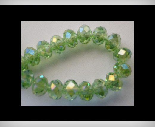 Faceted Glass Beads-6mm-Peridot-AB