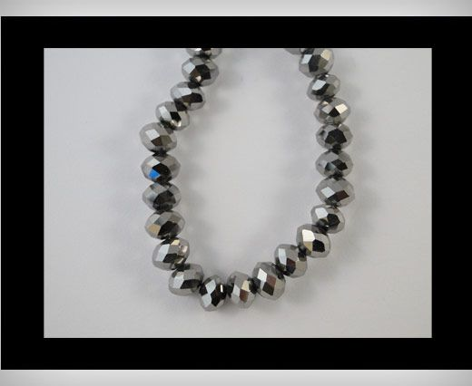 Faceted Glass Beads-18mm-Metallic Grey