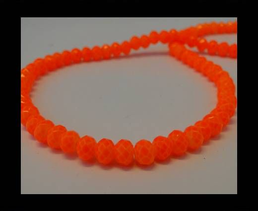 Faceted Glass Beads-6mm-Neon Orange