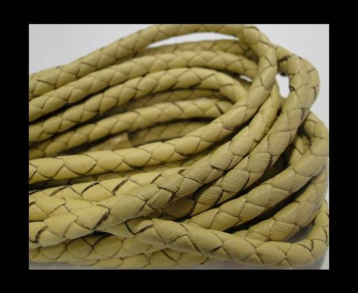 Fine Braided Nappa Leather Cords-4mm-LATTEE