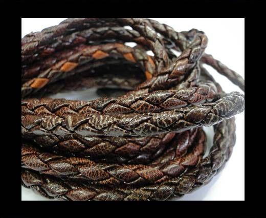 Fine Braided Nappa Leather Cords-4mm-VANDYKE BROWN