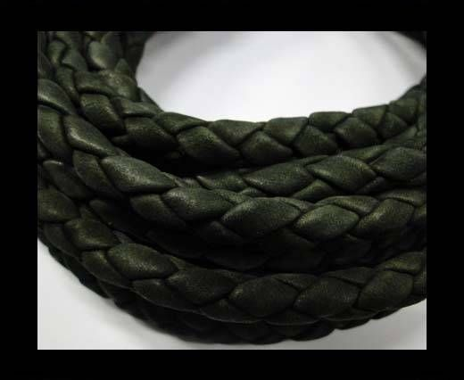 Fine Braided Nappa Leather Cords  - army green -8mm