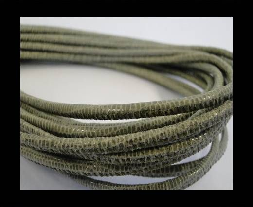 Nappaleder, rund gesäumt - 2,5mm - Olivgrün Lizard mit transparenten Pailletten