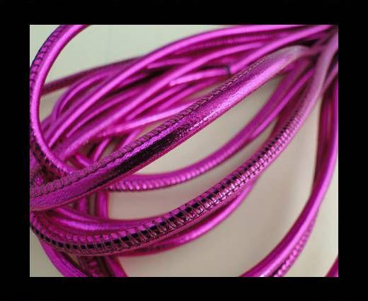 Round stitched nappa leather cord Neon Fuchsia-4mm