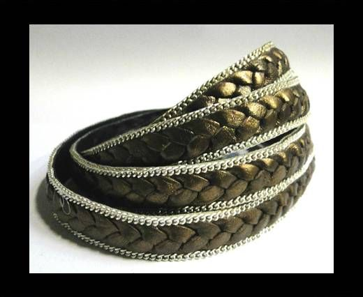 Flat Braided 3 ply with Silver chain - 14mm - Metallic Brozne