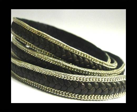 Flat Braided 3 ply with Silver chain - 10mm - Brown matt look