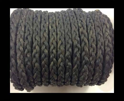 Flat Braided Cords - 3by2 -5mm  - vintage grey