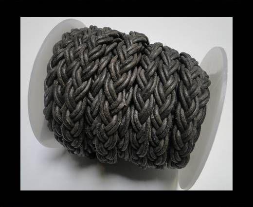 Flat Braided Cords-10MM- Twist Style- Vintage Black