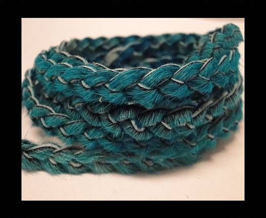 Braided Round Hair-on Leather-Blue-5mm