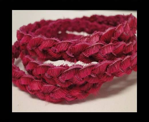 Braided Round Hair-on Leather-Fuchsia-5mm