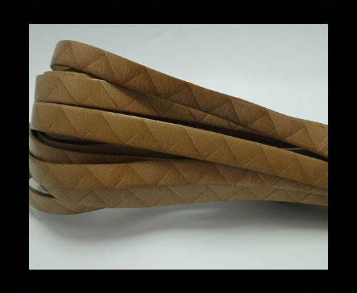 Flat Italian Leather- Stripes -10mm- Beige