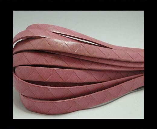 Flat Italian Leather- Stripes -10mm- Pink