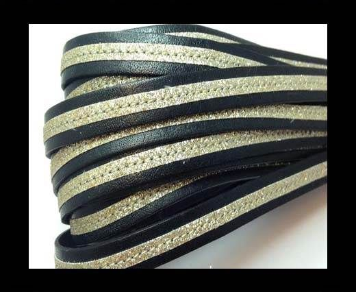 Flat Leather- With Glitter -10mm- Black Glitter Gold