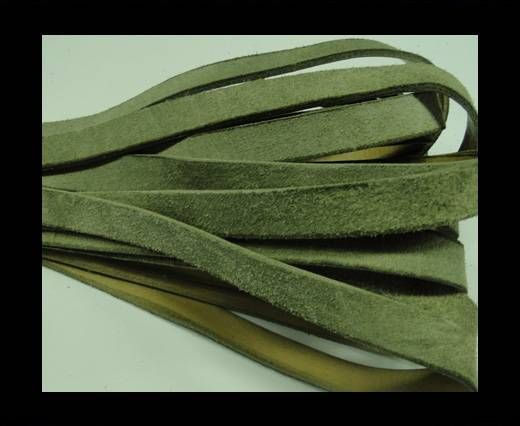 Flat Leather Cord Suede -10mm-Olive