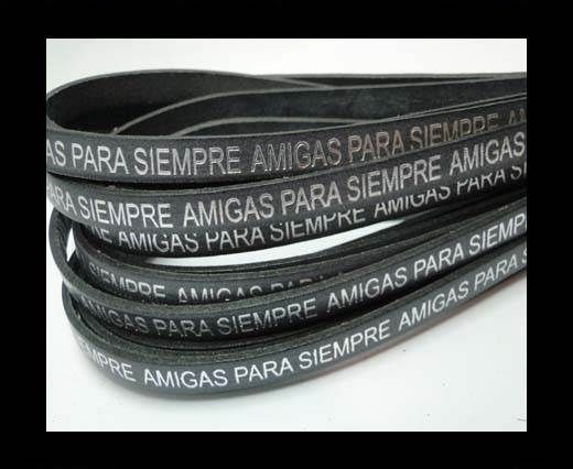 Flat Leather Cords - Amigas para siempre - 7mm -Grey