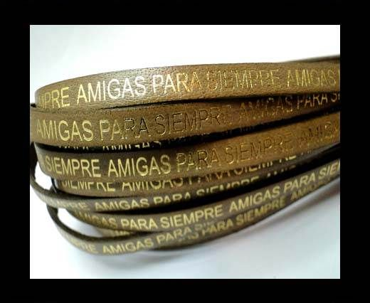 Flat Leather Cords - Amigas para siempre - 7mm -Tortora