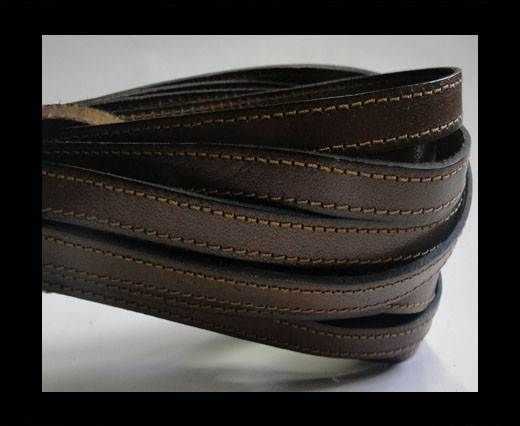 Flat Leather-Double Stitched-10mm-BROWN