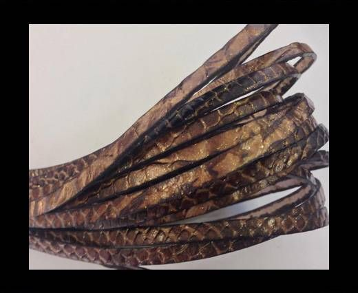 Flat leather Snake Style with glitter - 5 mm - Dark Brown