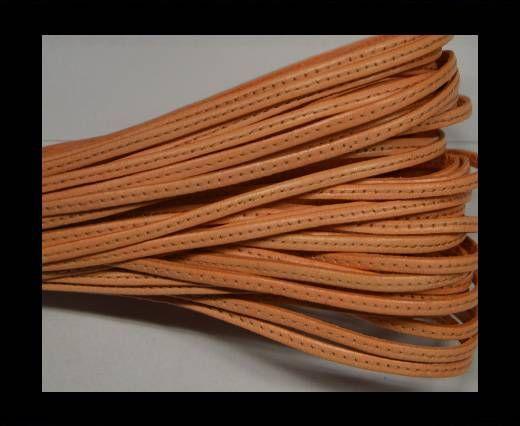 Flat leather with stitch - 3 mm - light orange
