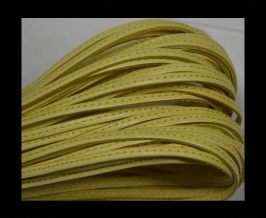 Flat leather with stitch - 3 mm - Light yellow
