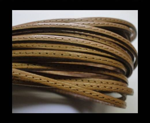 Flat leather with stitch - 3 mm - natural