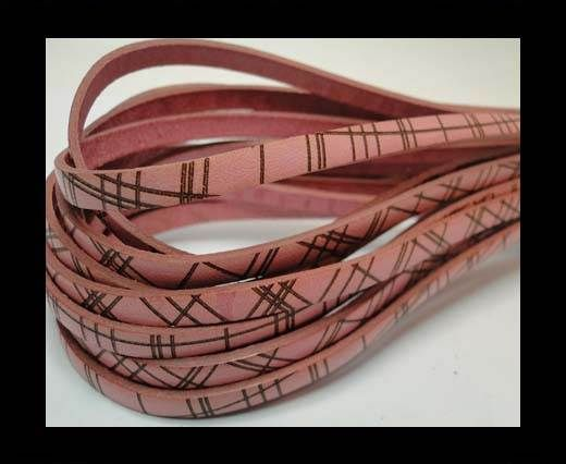 Flat leather with with crossed lines-5MM-Pink