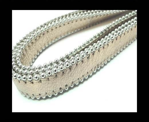 Flat Nappa Leather with Chains - 14mm -  Rose Gold