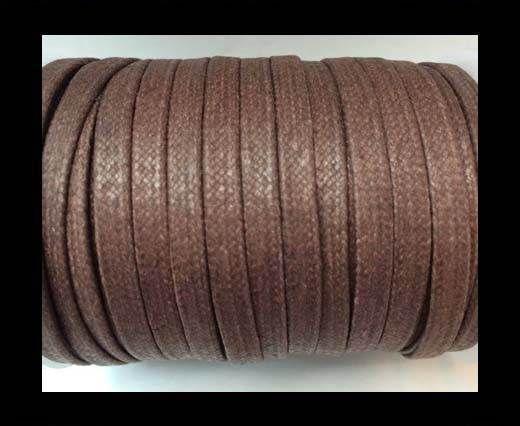 Flat Wax Cotton Cords - 5mm  - Medium Brown