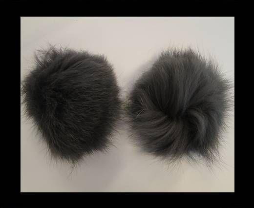 Fox Fur Pom Pom-Dark Grey-10cms