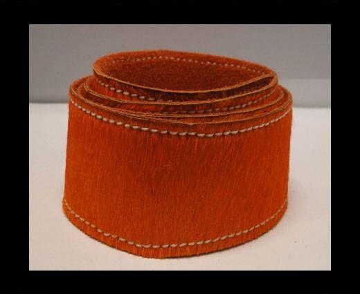 Hair-On Leather Belts-Orange-40mm
