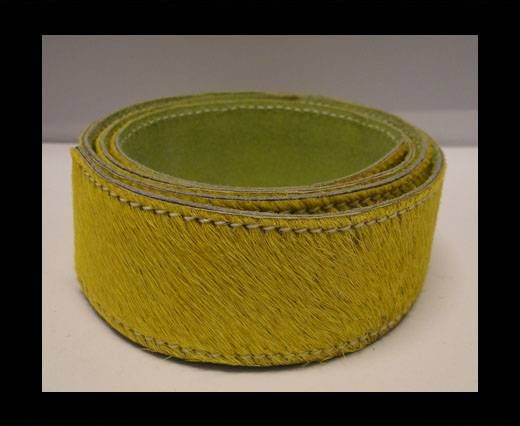 Hair-On Leather Belts-Yellow-40mm