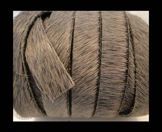 Hair-On Leather Flat-Light Grey-20mm