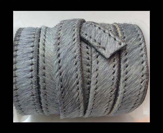 Hair-On-Flat Leather-grey with stitches-10MM