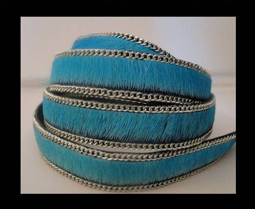 Hair-on leather with Chain-Turquoise-14mm