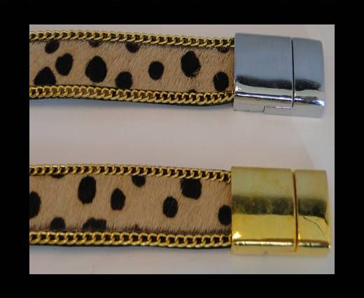Hair-On Leather with Gold Chain-Dotted Brown