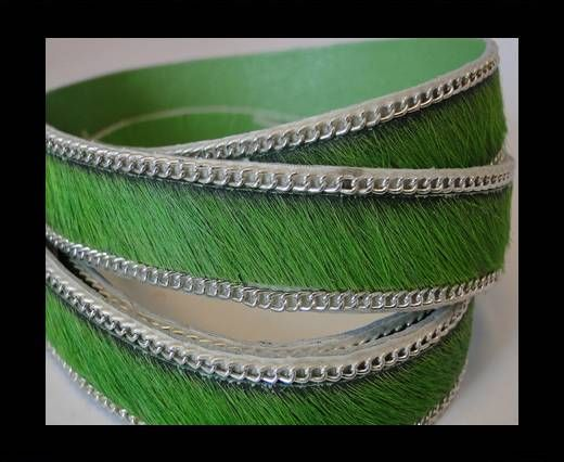 Hair-on leather with Chain - Green  - 10mm