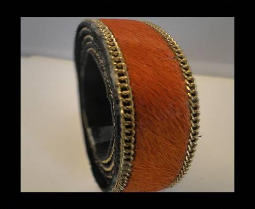 Hair-On Leather with Gold Chain-Dark Orange