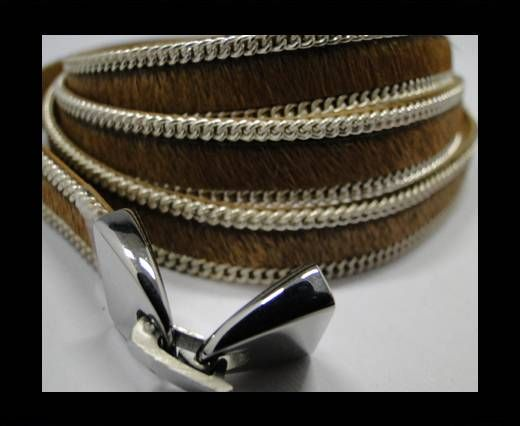 Hair-on leather with Chain - 10 mm - Light Brown