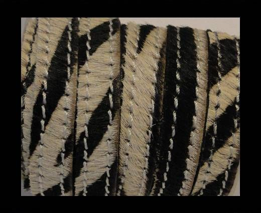 Hair-On Leather with Stitch-Zebra Skin-10mm