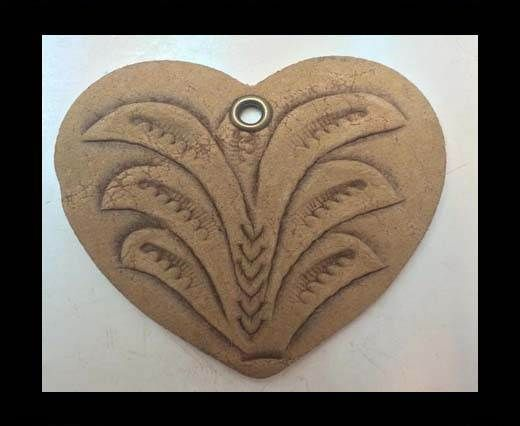 Heart 4cm - style 2 - Natural Leather Embossed