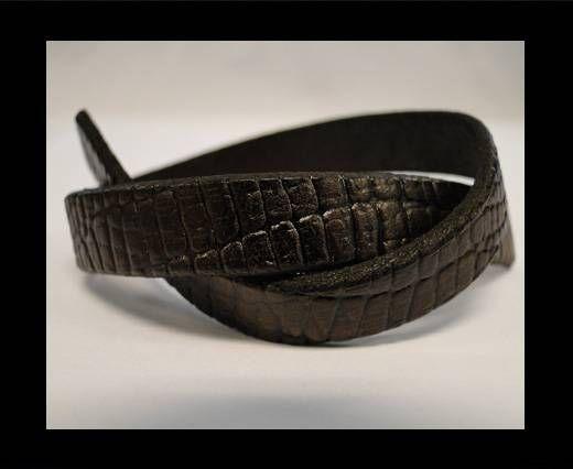 Flaches Italienisches Leder-Crocodile Braun