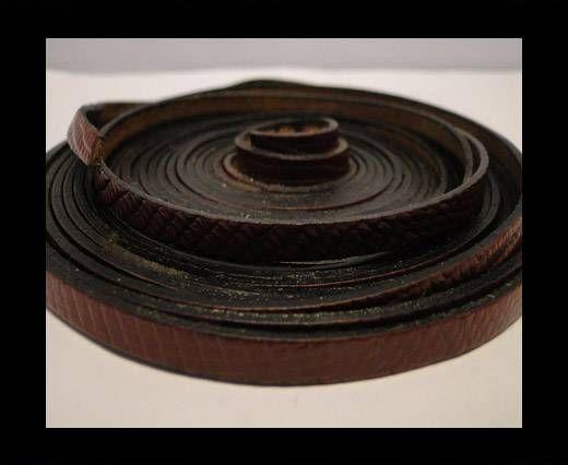 Italian Flat Leather-Crocodile-Choclate Brown